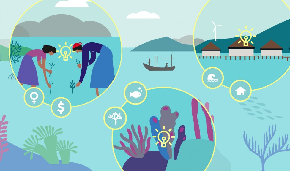 Illustration of coral reef, women fishers and a coastal village