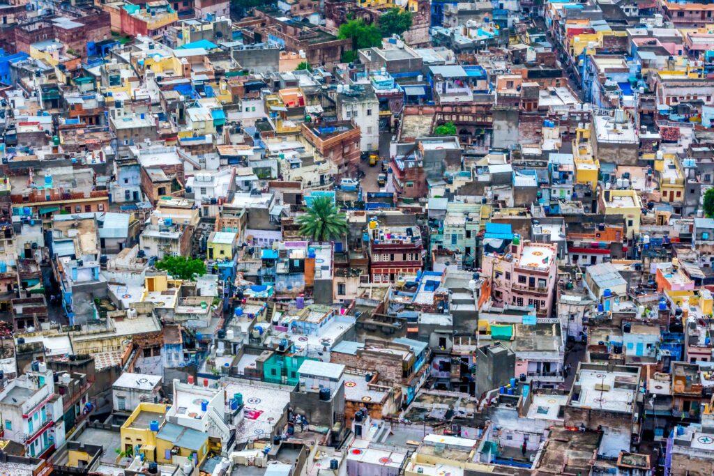 Aerial image of a slum