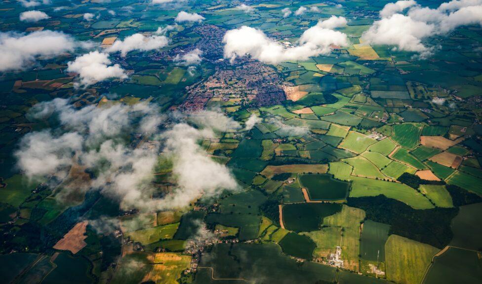 Aerial landscape image over farmland